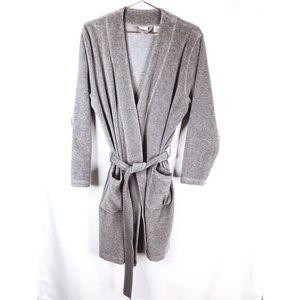 L. L. Bean Woman's Med-Reg Grey 100% Cotton Robe